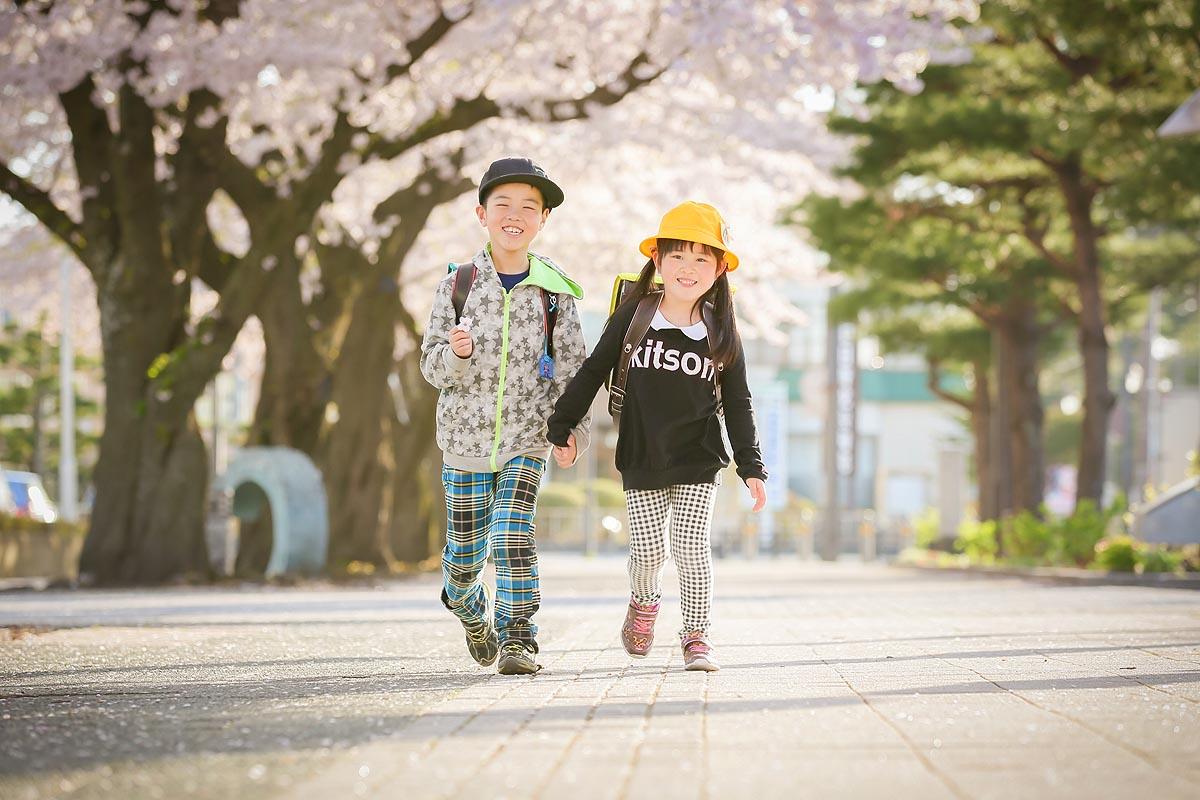 桜ロケ、通学路。