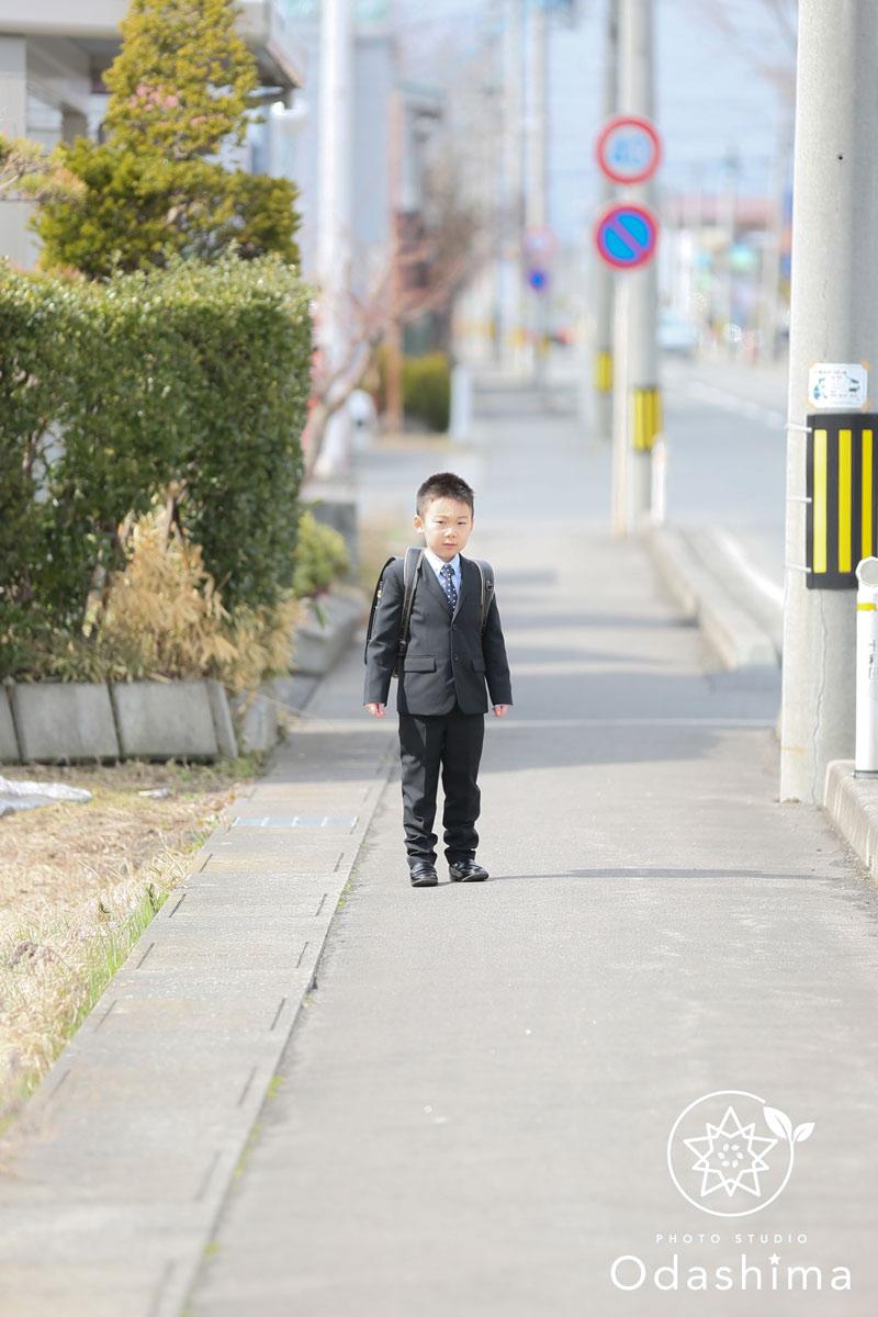 通学風入学写真